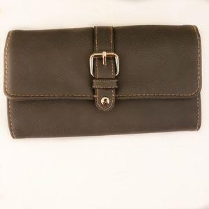 Gray leather women's wallet
